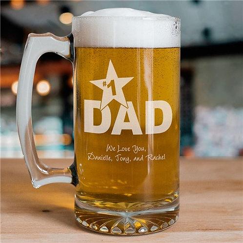 #1 Dad Personalized Sports Glass Mug
