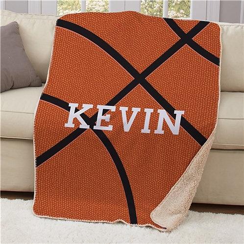Personalized 50x60 Basketball Sherpa Blanket