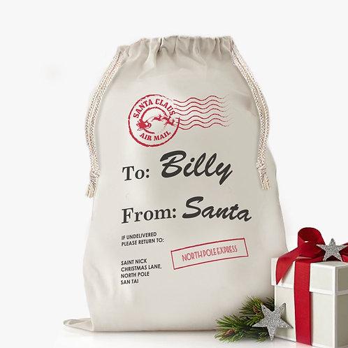 Custom Santa's Special Delivery Christmas Drawstring Sack   Personalized Santa B