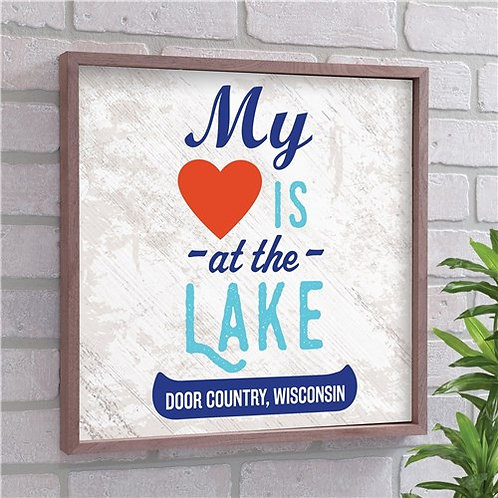 Personalized My Heart Is At The Lake Wood Wall Decor