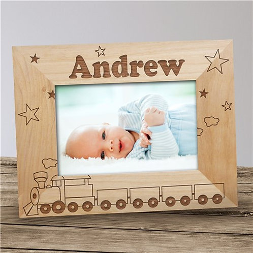 """New Baby """"All Aboard Baby Train"""" Personalized Wood Picture Frame"""