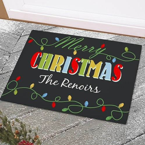 Christmas Lights Personalized Doormats