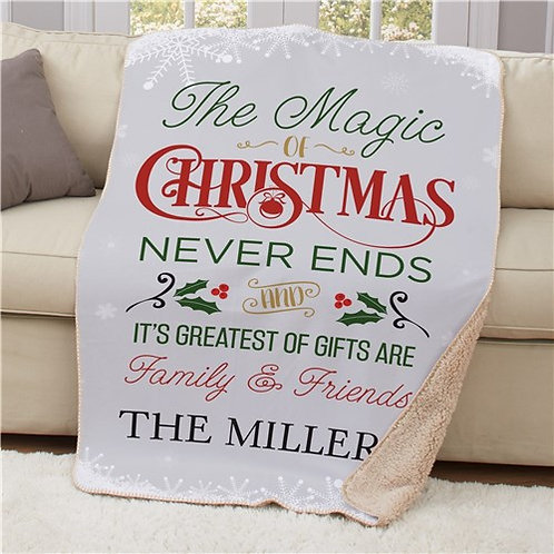 Personalized The Magic Of Christmas 50x60 Sherpa Blanket