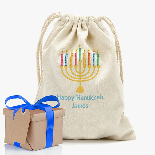 Our Happy Hanukkah Custom Drawstring Sack will conveniently store your wonderful