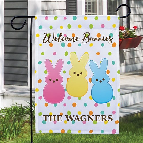Personalized Welcome Bunnies Dotted Garden Flag this Easter