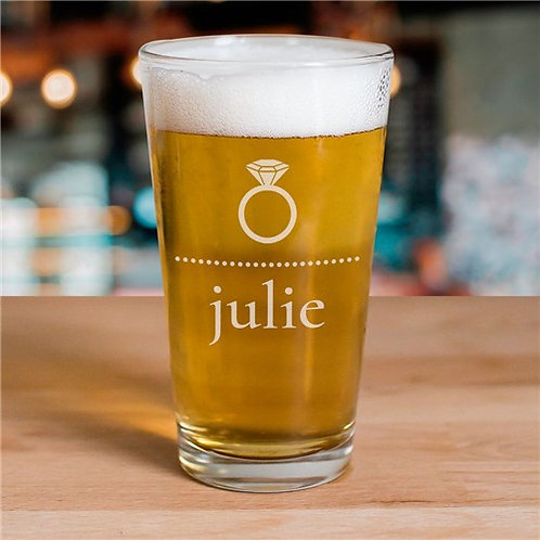 Engraved Bride Beer Glass