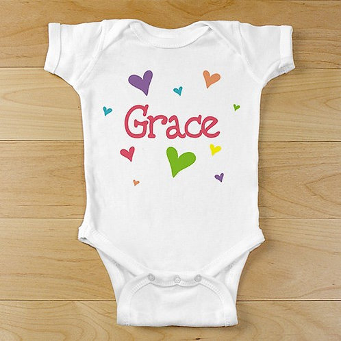 """New Baby """"She's All Heart"""" Personalized Infant Bodysuit"""