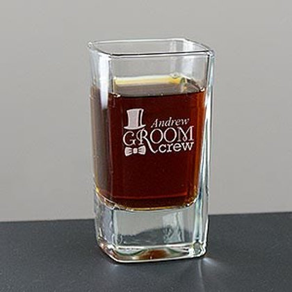 Engraved Groom Crew Square Shot Glass