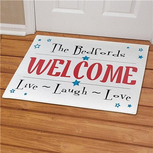 Personalized Live Laugh Love Patriotic Doormat