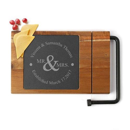 Personalized Mr. & Mrs. Couples Slate Cheese Slicer w/ Acacia Wood Base | Custom