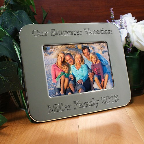 Engraved Vacation Silver Picture Frame