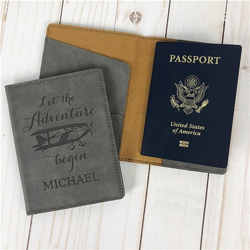 Personalized Let The Adventure Begin Passport Holder