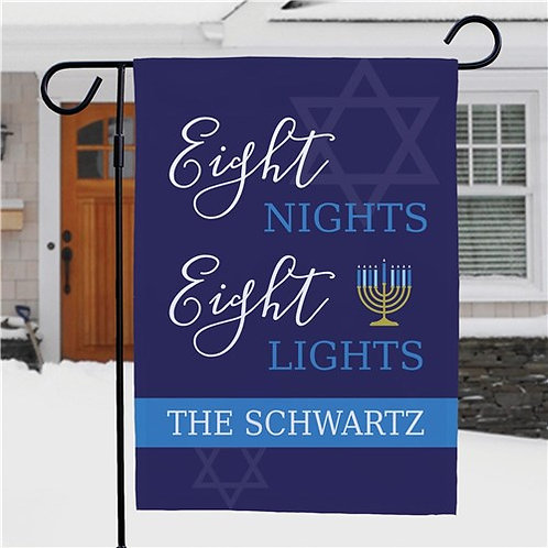 Personalized Eight Nights Eight Lights Garden Flag