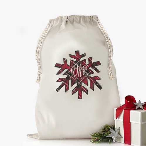 Custom Snowflake Plaid Christmas Drawstring Sack for Kids | Personalized Santa B
