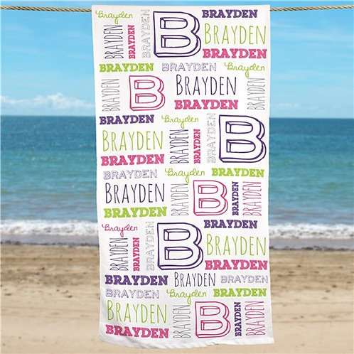 Personalized Kid's Name Beach Towel