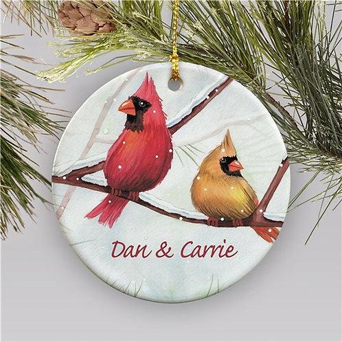 Personalized Ceramic Cardinals Christmas Ornament