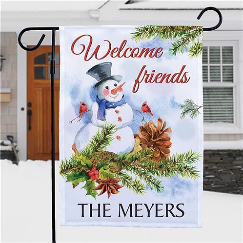 Personalized Snowman Welcome Friends Garden Flag