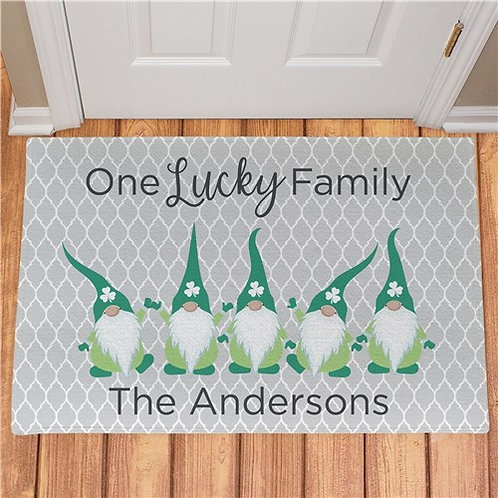 Personalized One Lucky Gnome Family Doormat