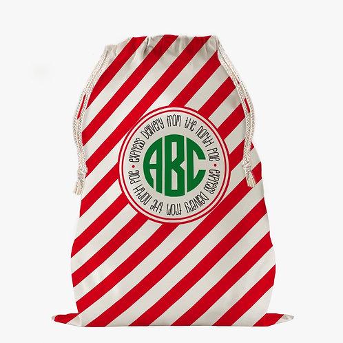 Custom Striped Monogram Christmas Drawstring Sack