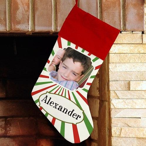 Christmas Stripes Photo Stocking