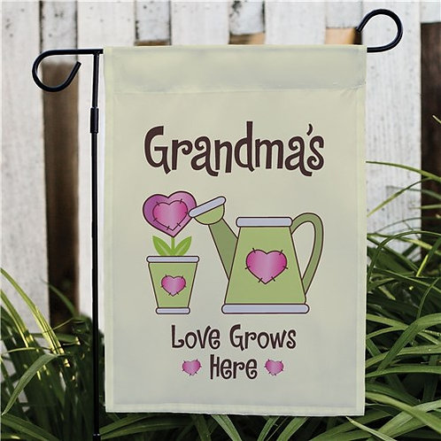 Personalized Love Grows Here Garden Flag