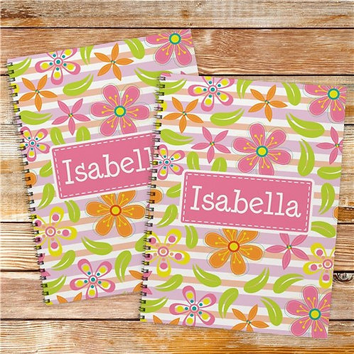 Personalized Floral Pattern Notebook Set