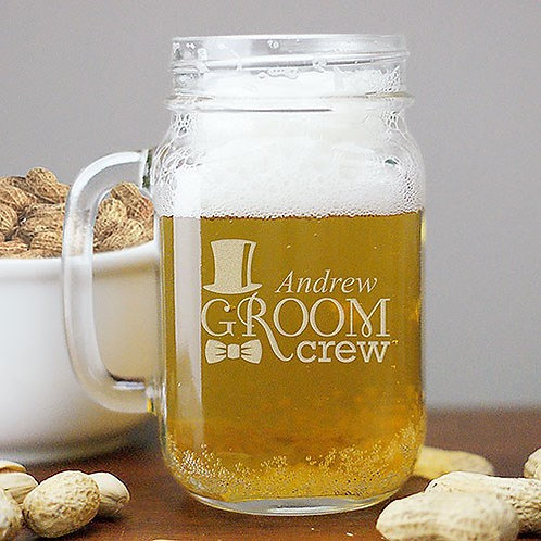 Engraved Groom Crew Mason Jar