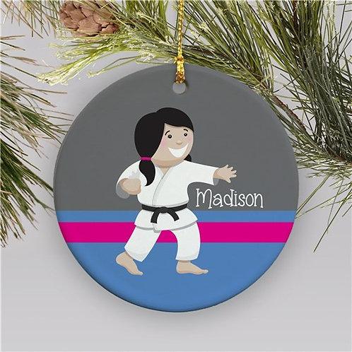 Personalized Girl Karate Christmas Ornament | Ceramic