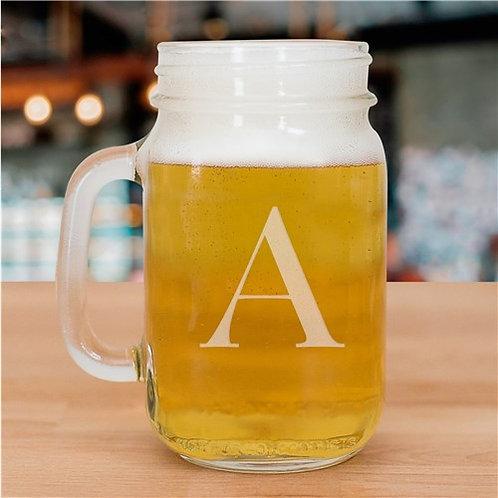 One Initial Mason glass jar