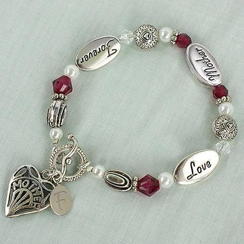 Love Mother Forever Red Gem Bracelet