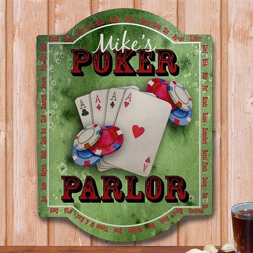 Personalized Poker Parlor Wall Sign
