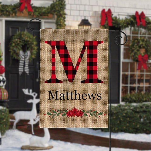 Custom Plaid Initial Christmas Garden Flag