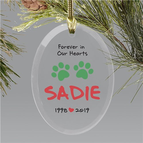 Personalized Forever In Our Hearts Christmas Glass Ornament