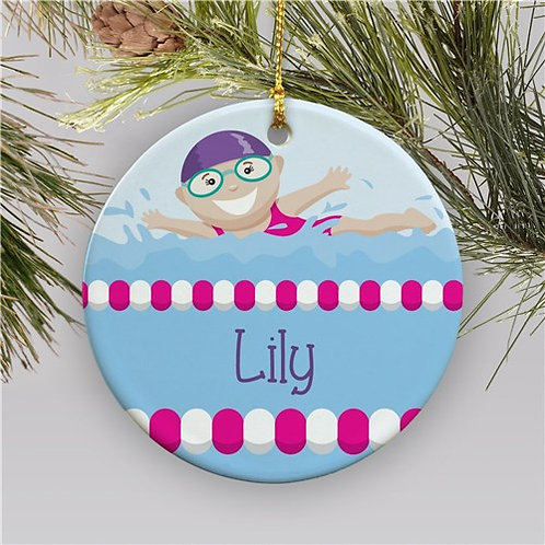 Personalized Girl Swimmer Christmas Ornament