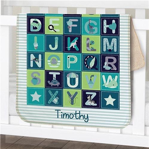 Personalized Baby Boy Alphabet Sherpa Blanket