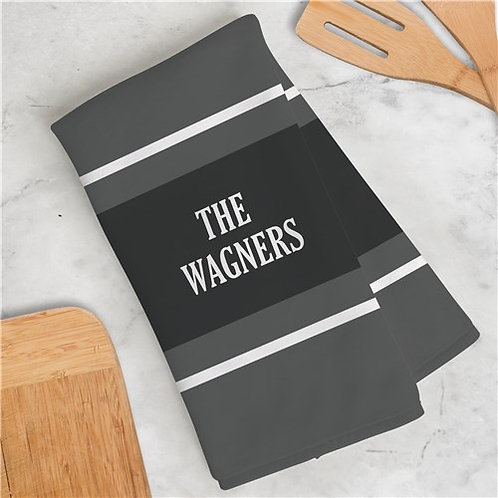 Personalized Family Name With Stripes Dish Towel