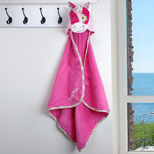 Embroidered Girl Pony Hooded Towel