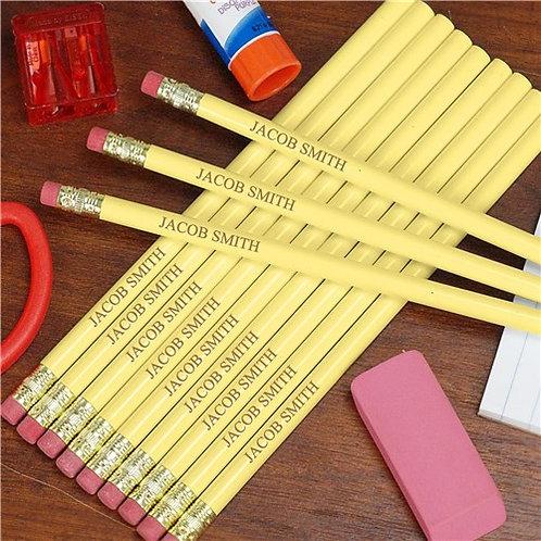 Engraved Yellow School Pencils