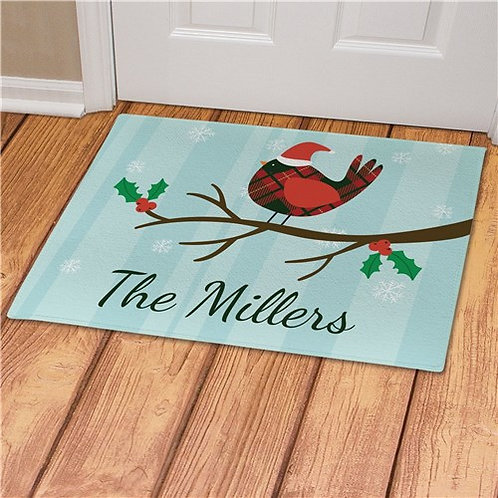 Personalized Cardinal With Christmas Hat Doormat