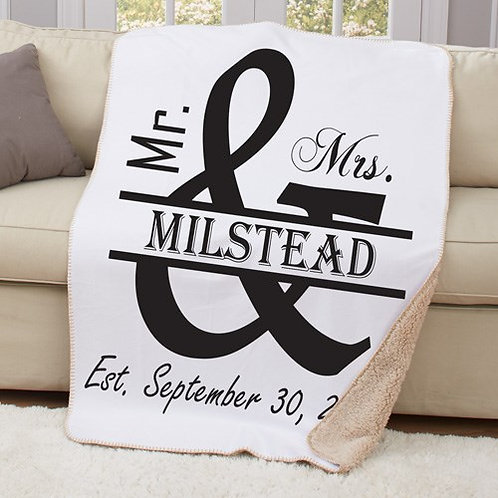 Personalized Mr. and Mrs. Sherpa Throw