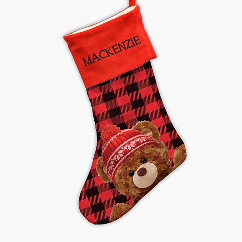 Custom Red Plaid Teddy Bear Christmas Stocking