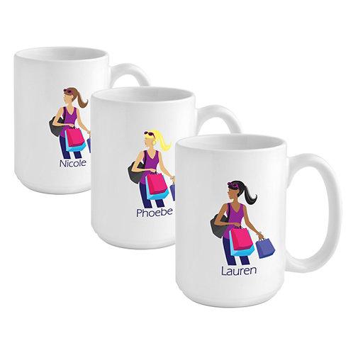 Personalized Girl-Shopper Coffee Mug