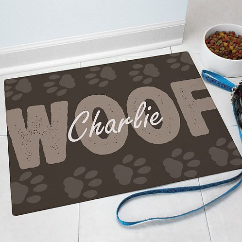 Personalized Woof Pet Food Mat