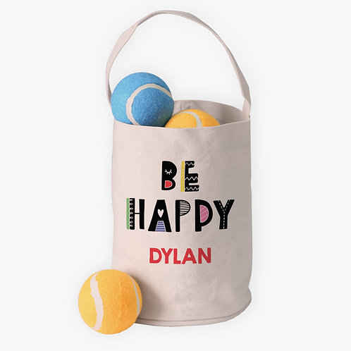Be Happy Custom Canvas Mini Tote Bucket for Kids