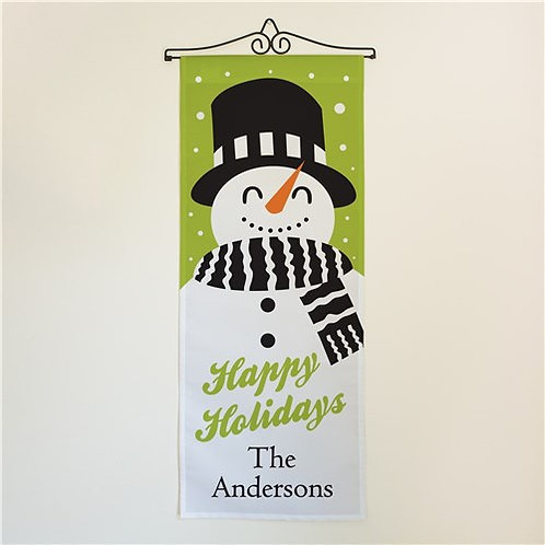 Personalized Happy Holidays Snowman Door Banner