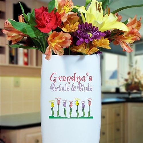 Petals and Buds Personalized Vase