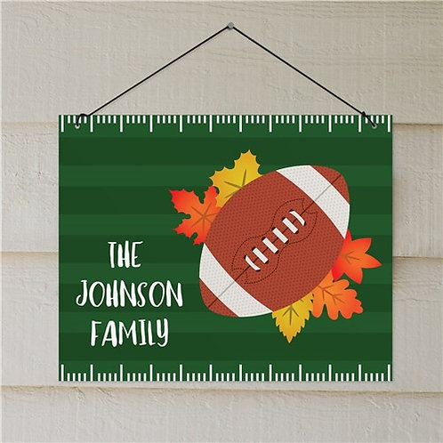 Personalized Fall Leaves Football Wall Sign
