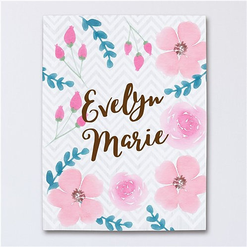 Personalized Floral Baby Canvas