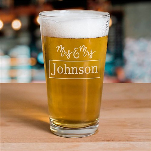 Engraved Couple's Beer Glass