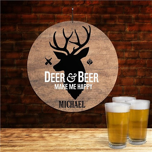 Deer And Beer Round Wall Sign